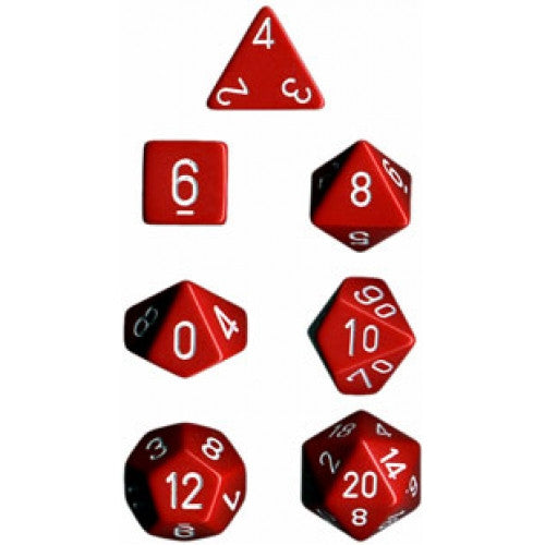 Chessex - 7 Piece - Opaque - Red/White