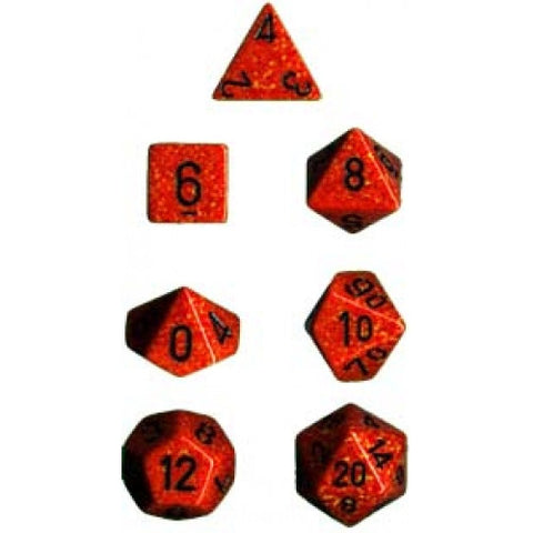Chessex - 7 Piece - Speckled - Fire