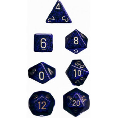 Chessex - 7 Piece - Speckled - Golden Cobalt