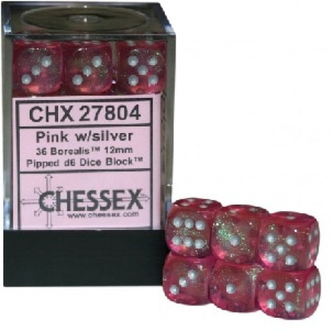 Chessex - 36D6 - Borealis - Pink/Silver