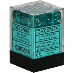 Chessex - 36D6 - Borealis - Teal/Gold