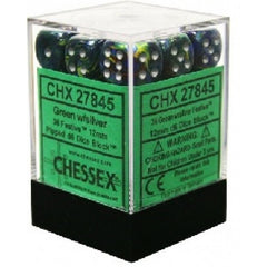 Chessex - 36D6 - Festive - Green/Silver