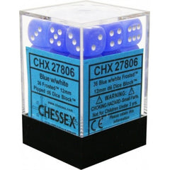Chessex - 36D6 - Frosted - Blue/White