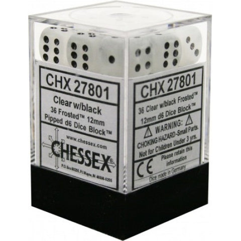 Chessex - 36D6 - Frosted - Clear/Black