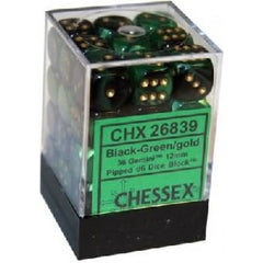Chessex - 36D6 - Gemini - Black-Green/Gold
