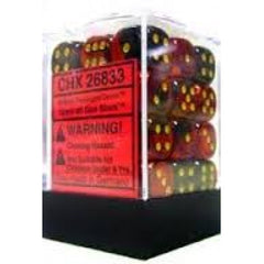 Chessex - 36D6 - Gemini - Black-Red/Gold