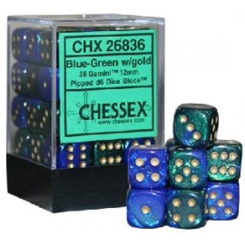 Chessex - 36D6 - Gemini - Blue-Green/Gold