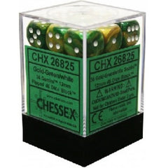 Chessex - 36D6 - Gemini - Gold-Green/White