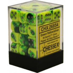 Chessex - 36D6 - Gemini - Green-Yellow/Silver