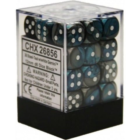 Chessex - 36D6 - Gemini - Steel-Teal/White