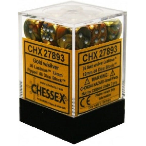 Chessex - 36D6 - Lustrous - Gold/Silver