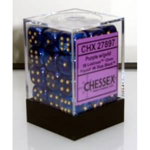Chessex - 36D6 - Lustrous - Purple/Gold
