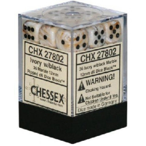 Chessex - 36D6 - Marble - Ivory/Black