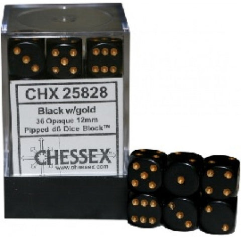 Chessex - 36D6 - Opaque - Black/Gold