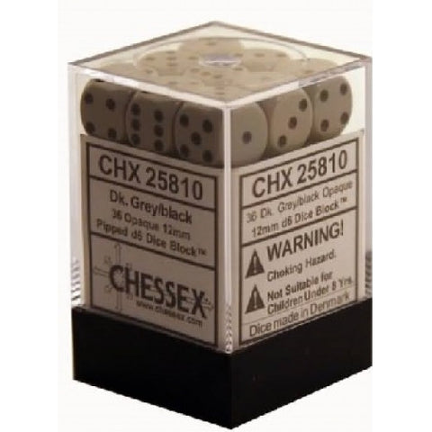 Chessex - 36D6 - Opaque -Grey/Black