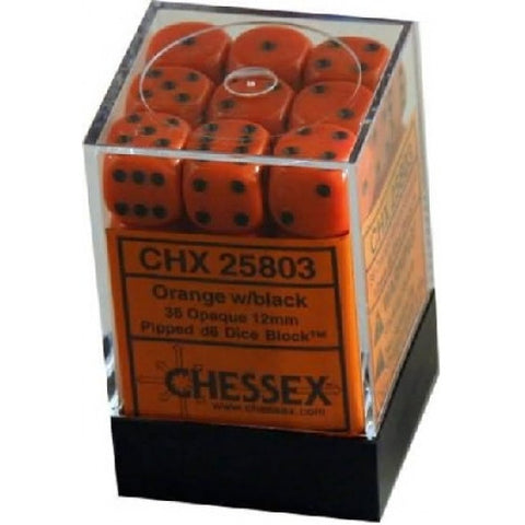 Chessex - 36D6 - Opaque - Orange/Black