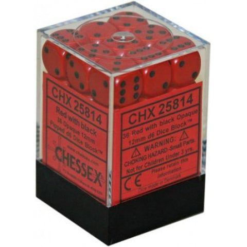 Chessex - 36D6 - Opaque -Red/Black