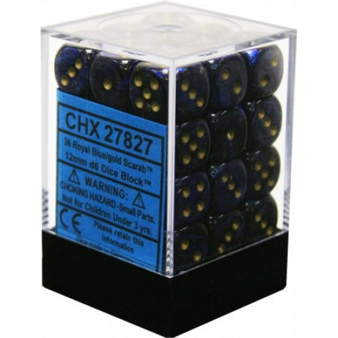 Chessex - 36D6 - Scarab - Royal Blue/Gold