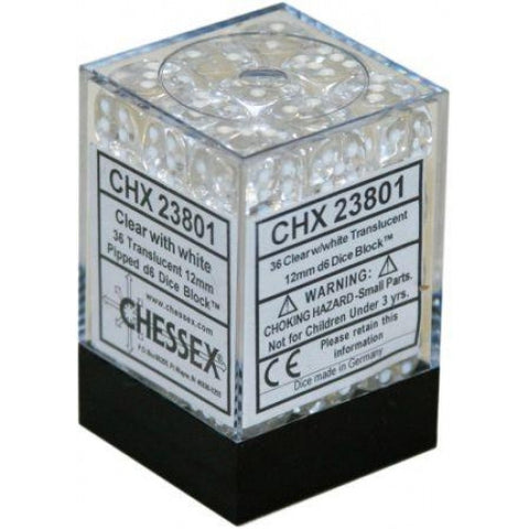 Chessex - 36D6 - Translucent - Clear/White