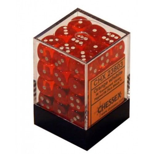 Chessex - 36D6 - Translucent - Orange/White