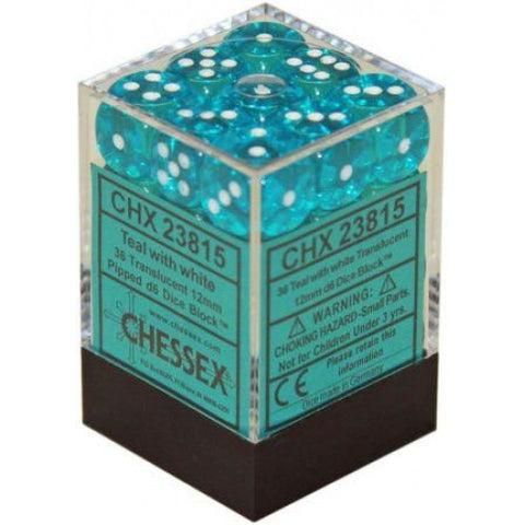 Chessex - 36D6 - Translucent - Teal/White