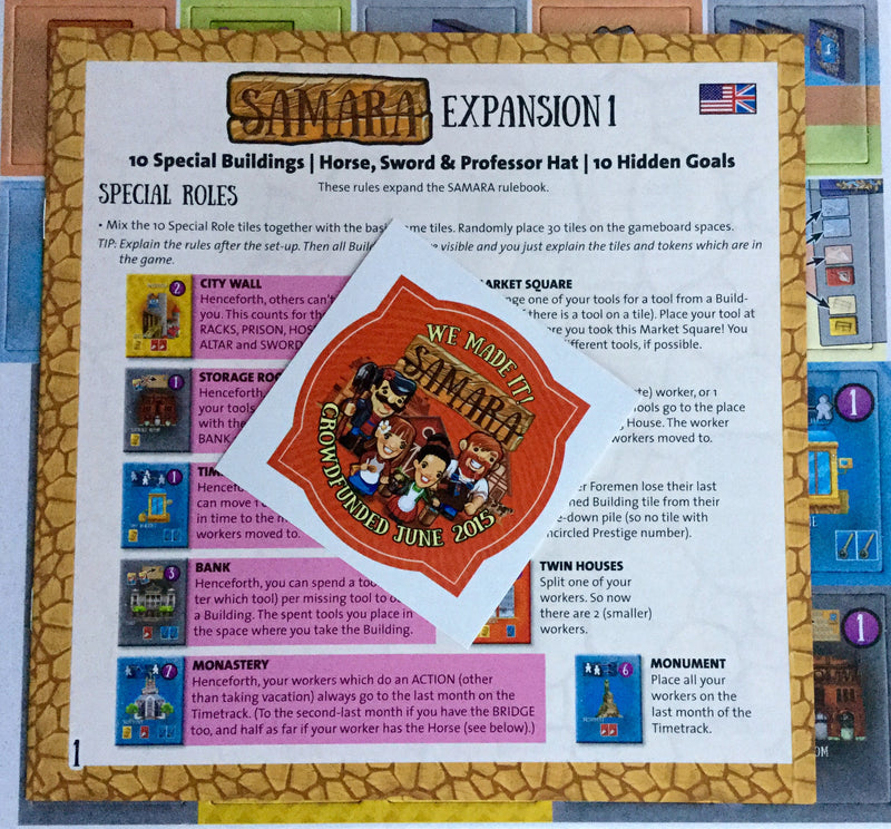 Samara: Expansion 1 - Buildings, Goals & Tokens