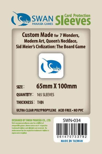 Swan - Card Sleeves (65 x 100 mm) - 165 Pack, Thin Sleeves - 7 Wonders