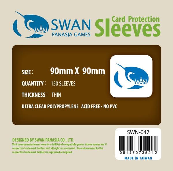 Swan - Card Sleeves (90 x 90 mm) - 150 Pack, Thin Sleeves