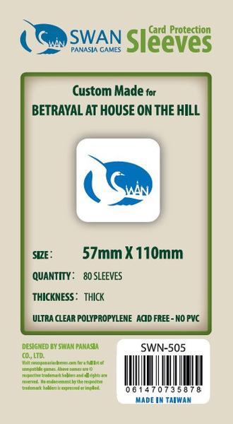 Swan - Card Sleeves (57 x 110 mm) - 80 Pack, Thick Sleeves - Betrayal of the house on the hill