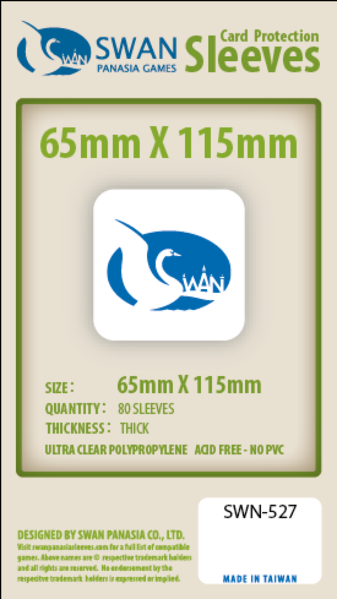 Swan - Card Sleeves (65 x 115 mm) - 80 Pack, Thick Sleeves