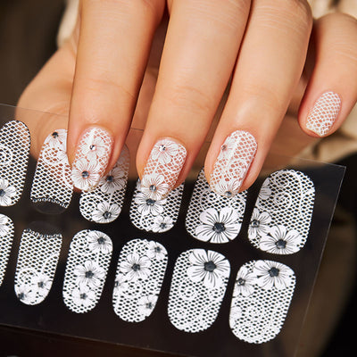 White Sexy Lace Nail Art Water Decal Decoration