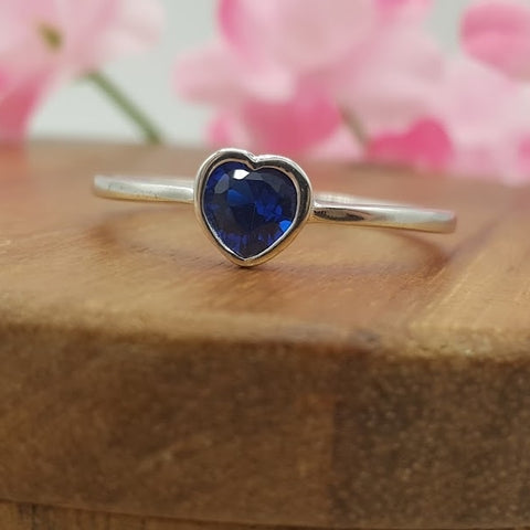Deep Blue CZ Heart Sterling Silver Ring