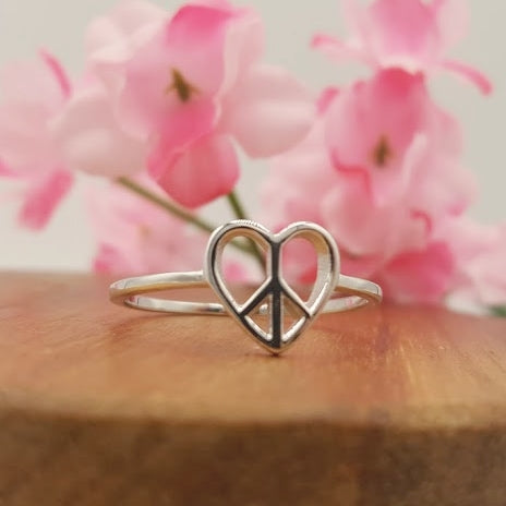 I HEART PEACE Sterling Silver Ring