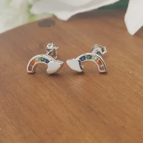 Rainbow Gem Stud Earrings
