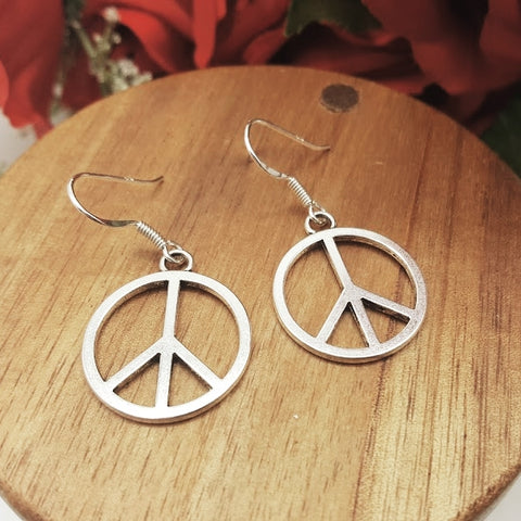 Peace Sign (big) Sterling Silver Hook Earrings