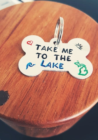 """TAKE ME TO THE LAKE"" Dog Tag"