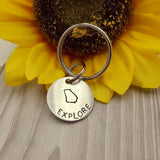 """Explore"" PICK STATE Hand Stamped Keychain (PICK YOUR STATE)"