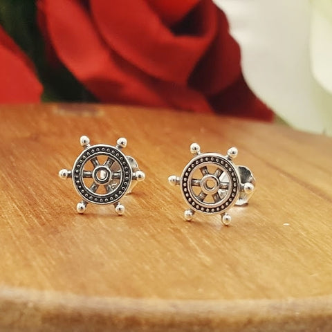 Helm Sterling Silver Stud Earrings