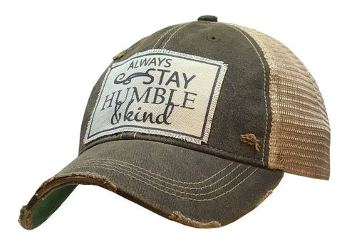 Always Stay Humble & Kind Hat Super Soft Gray and TAN mesh snap adjustable back cap