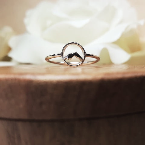 Mountain silhouette Sterling Silver Ring