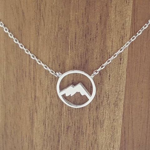 Mountains Silhouette Sterling Silver Necklace