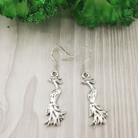 Shy Peacock Sterling Silver Hook Earrings