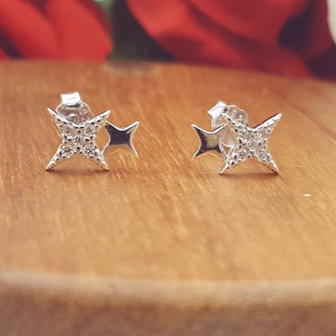 Stars CZ Sterling Silver Stud Earrings
