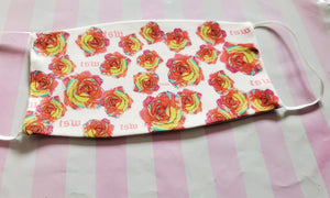 TSW Pink Roses Print Adult Face Mask Organic Cotton