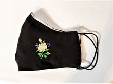 Load image into Gallery viewer, Embroidered Flower Handmade Print Adult Face Mask Organic Cotton