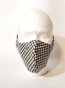 Black with White Crosses Handmade Print Adult Face Mask Organic Cotton