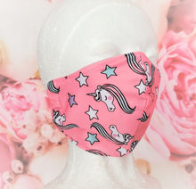 Load image into Gallery viewer, Unicorn Pink Face Mask Cotton