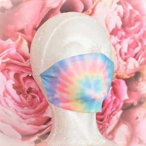 Cotton Candy Swirl Tie Dye Adult Face Mask Organic Cotton