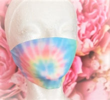 Load image into Gallery viewer, Cotton Candy Swirl Tie Dye Adult Face Mask Organic Cotton