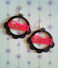 Load image into Gallery viewer, CHULA Pink and Black Hoop Acrylic Dangle Earrings
